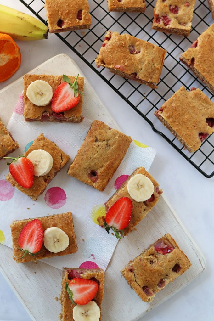 Flat lay of healthy cake bars