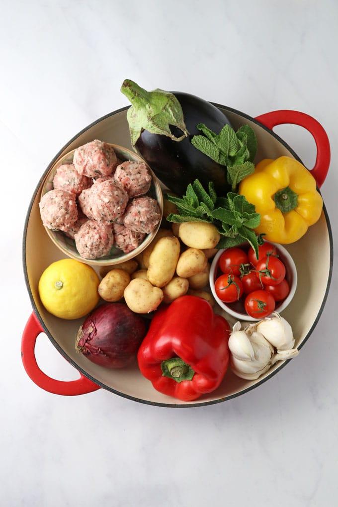 Ingredients for One Pot Greek Lamb Meatballs