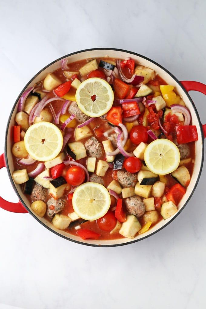 One Pan Greek Lamb Meatballs recipe cooking