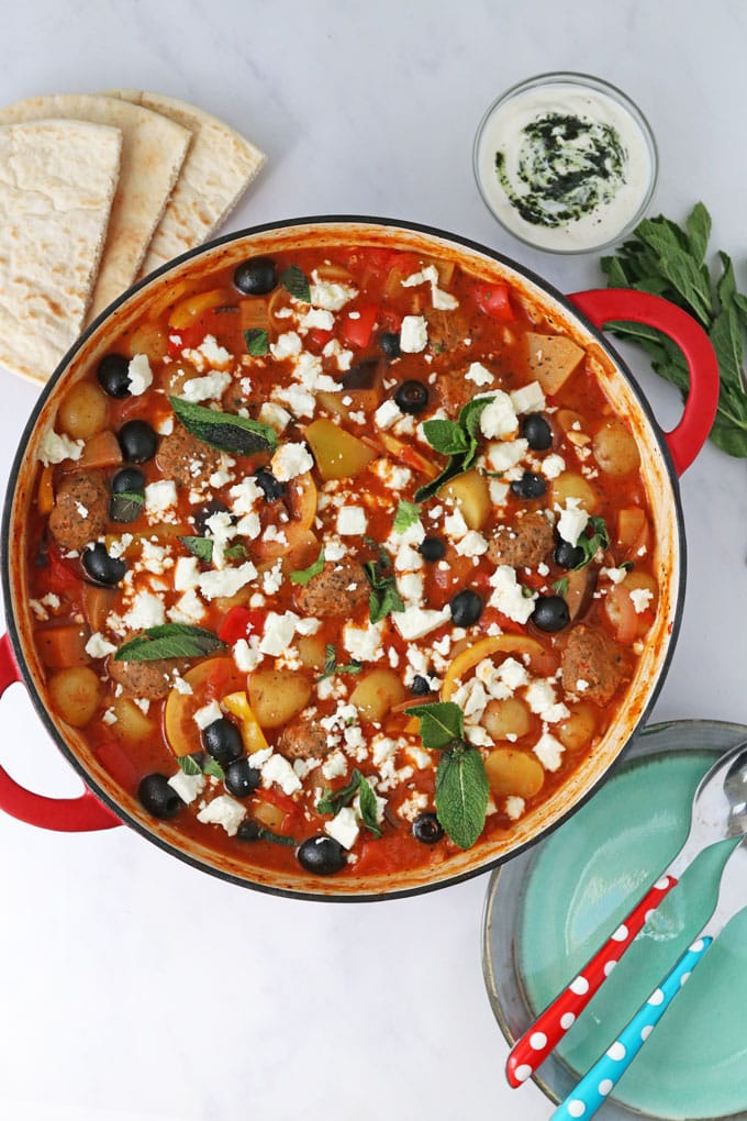 One Pot Greek Lamb Meatballs Recipe