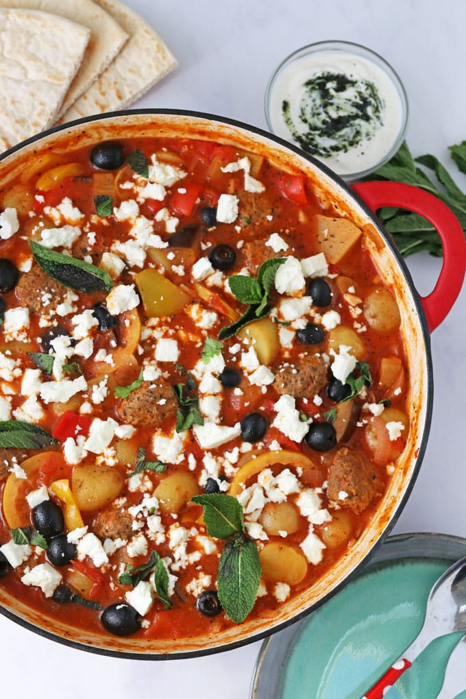 One Pot Greek Lamb Meatballs served with feta topping