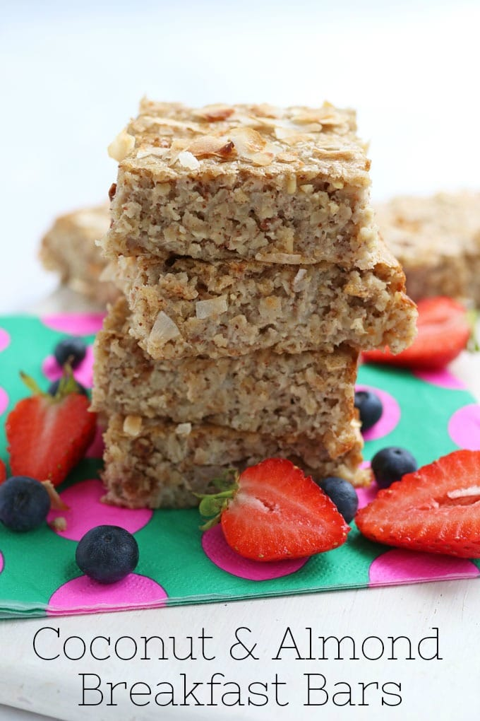 Breakfast Bar made with oats, coconut milk and almond butter
