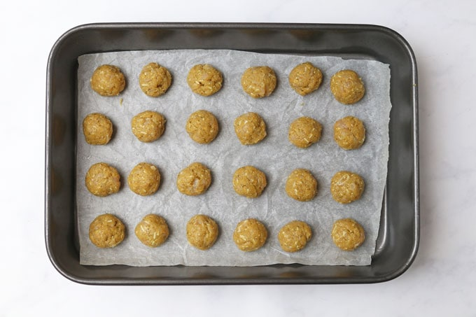 Chicken Meatballs on a tray