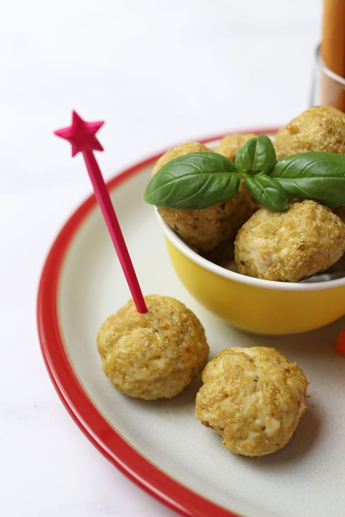 Chicken Meatballs with a pink skewer