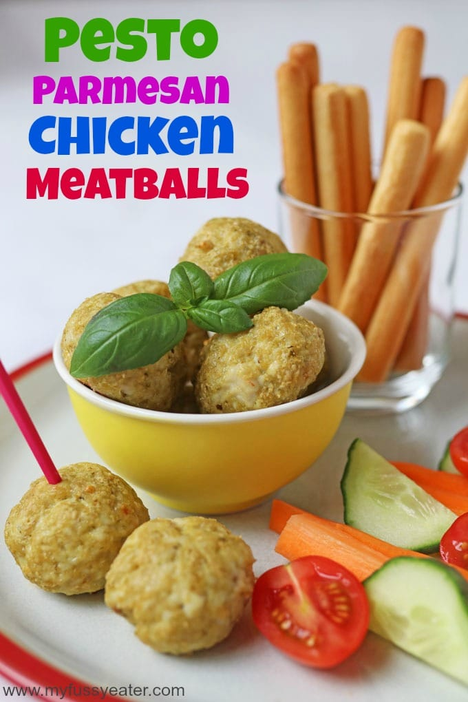 Pesto Parmesan Chicken Meatballs