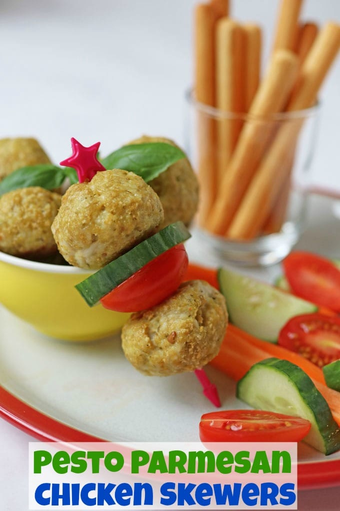 Pesto Parmesan Chicken Meatballs on a skewer