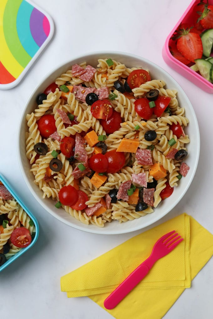 Pizza Pasta Salad in a large white bowl