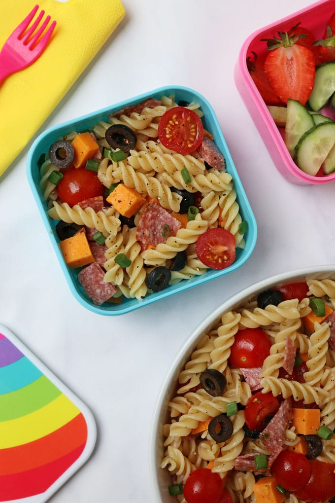 Pizza Pasta Salad in a lunchbox