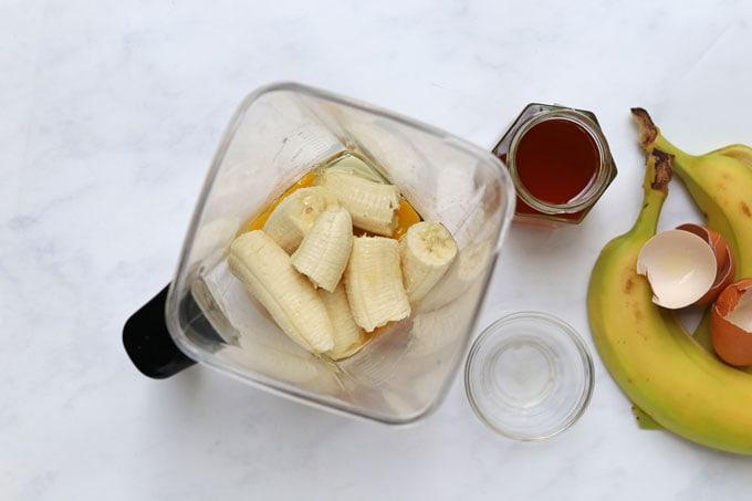 banana, eggs, honey & vanilla extract in the blender