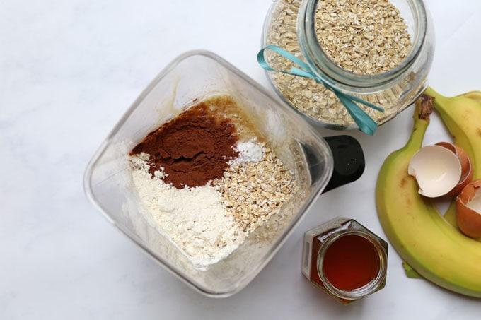 dry ingredients added to blender