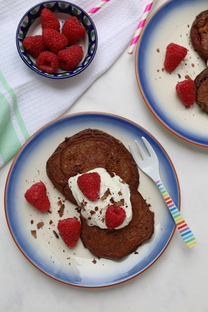 Chocolate Raspberry Pancakes - Healthy Pancake Recipe