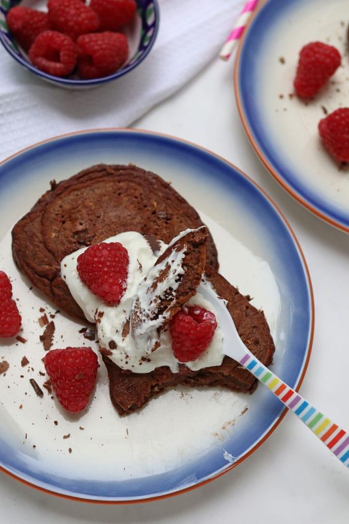Healthy Chocoalte Pancake Recipe with yogurt and raspberries