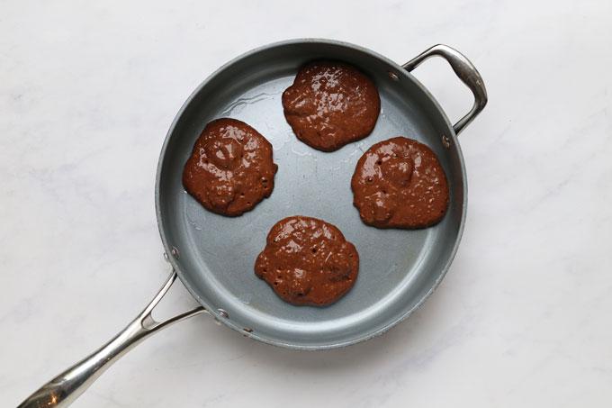 pancake mixture in frying pan
