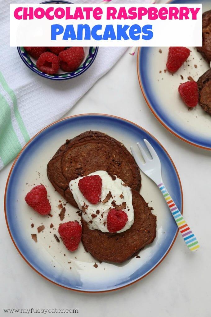 chocolate raspberry pancake pinterest pin