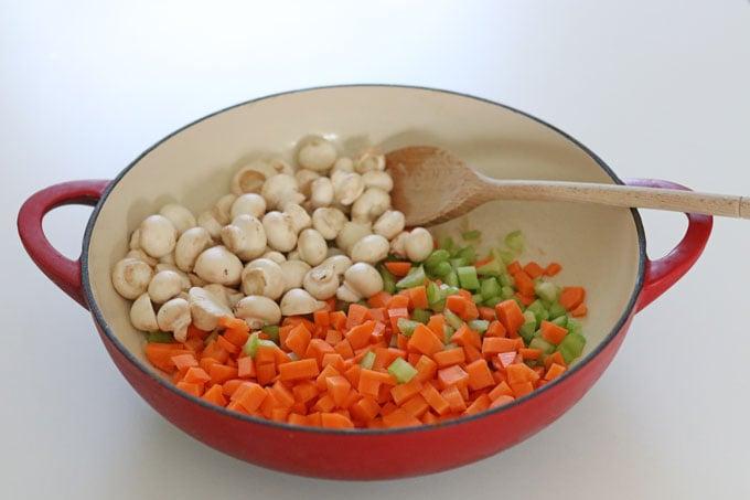 mushrooms, carrot, garlic & celery in pan
