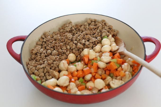 quorn mince added to pan