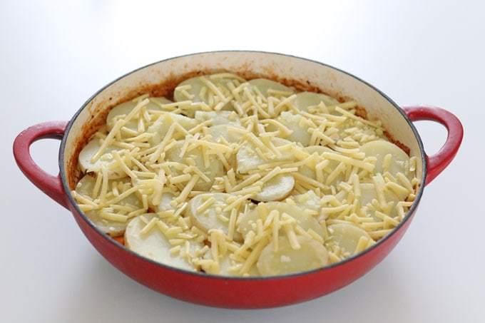 potato slices and cheese topping