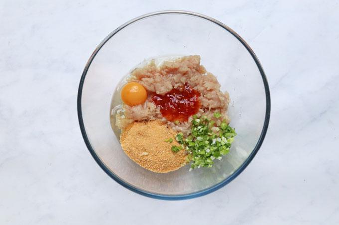 Ingredients for sweet chilli chicken meatballs