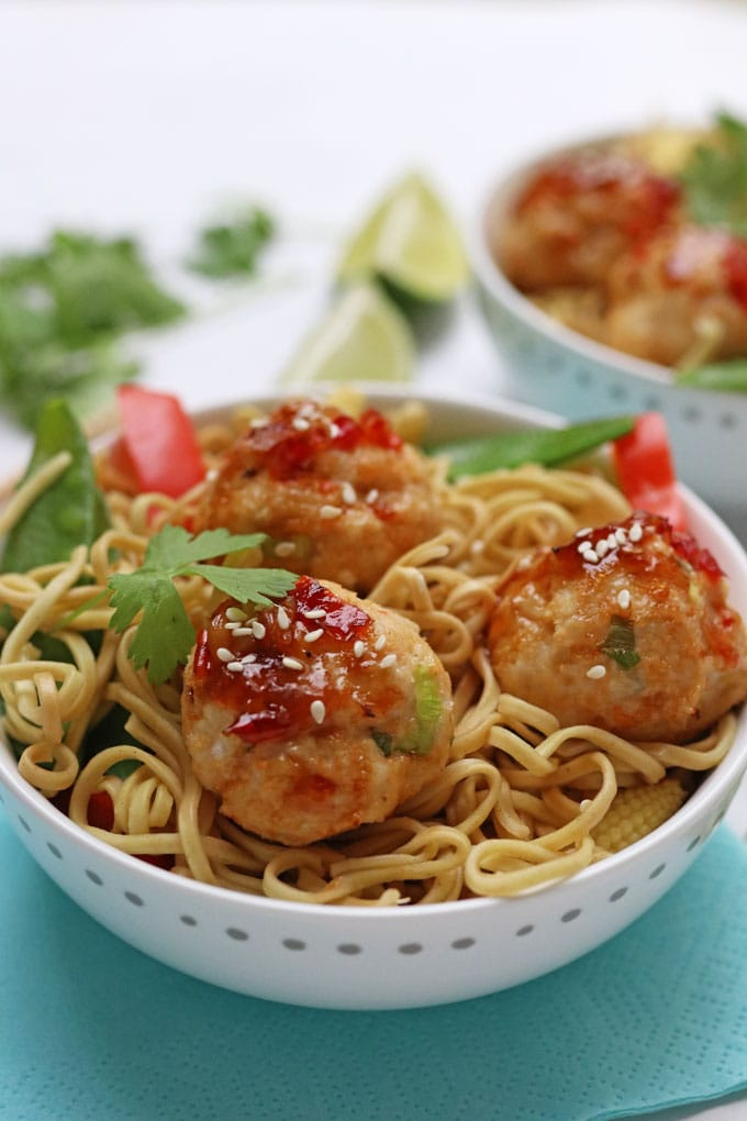 Thai Chicken Meatballs with noodles and vegetables