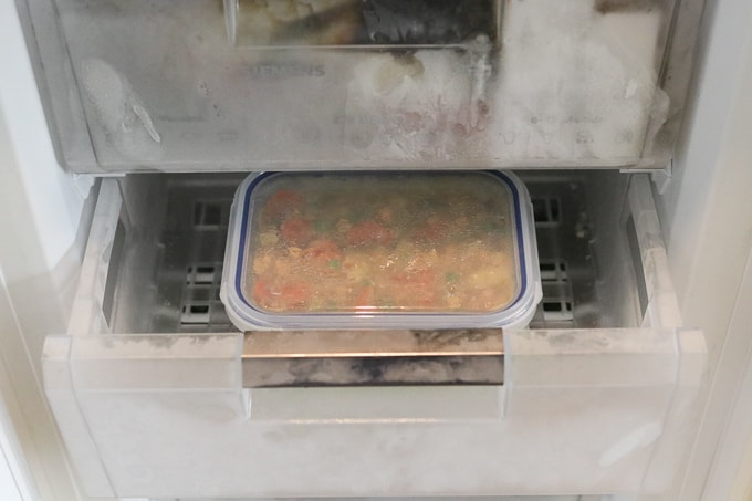 chinese chicken curry in freezer