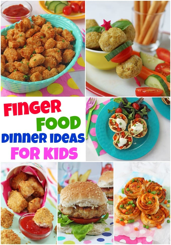 finger food dinner ideas for kids collage showing popcorn chicken, chicken and pesto meatballs, quorn taco cups, chicken and apple burgers, vegetable roll ups and quinoa chicken nuggets.