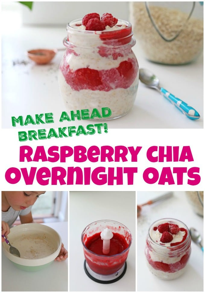 make ahead breakfast - raspberry chia overnight oats