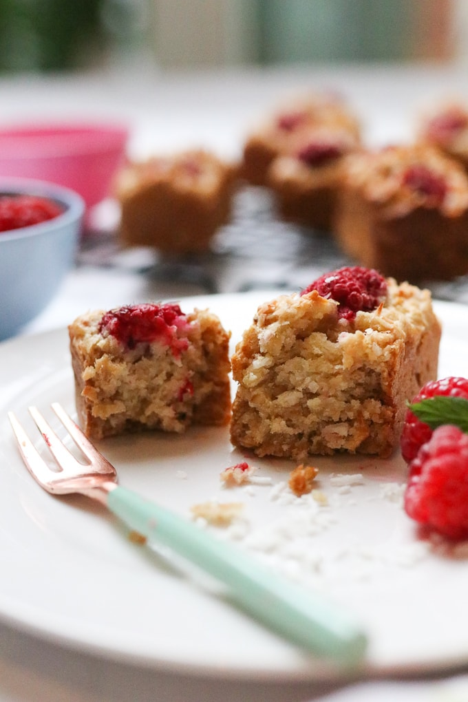 Raspberry Coconut Loaf on a plate with a fork