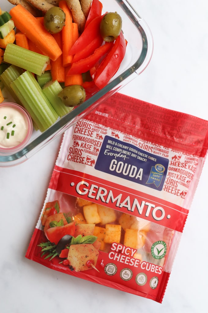 A quick, easy and super delicious lunch whipped up in just 5 minutes using Germanto Spicy Gouda Cheese Cubes.