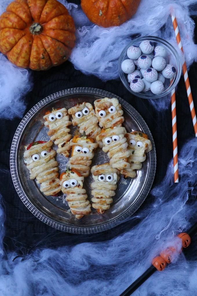 Stuffed Mini Pepper Mummies