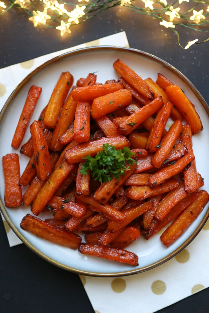 carrot chips with maple & thyme