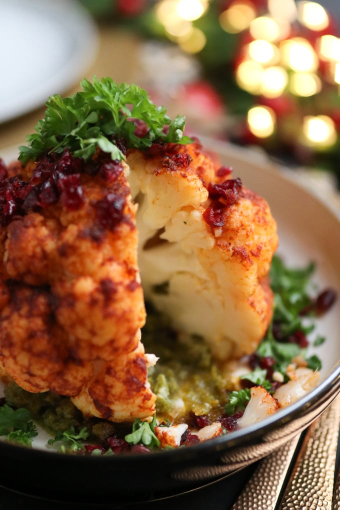 whole roasted cauliflower with hazelnut pesto