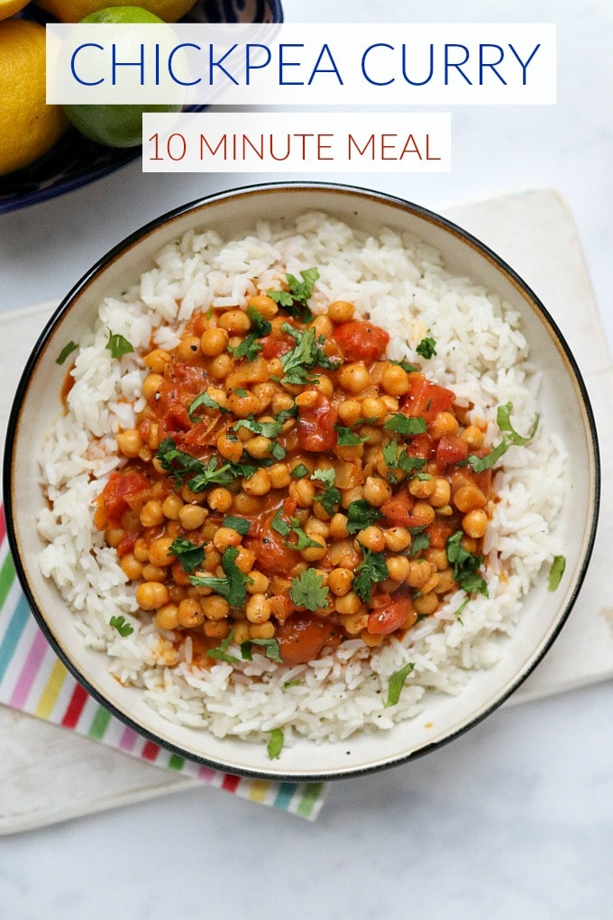 10 Minute Chickpea Curry Pinterest Pin