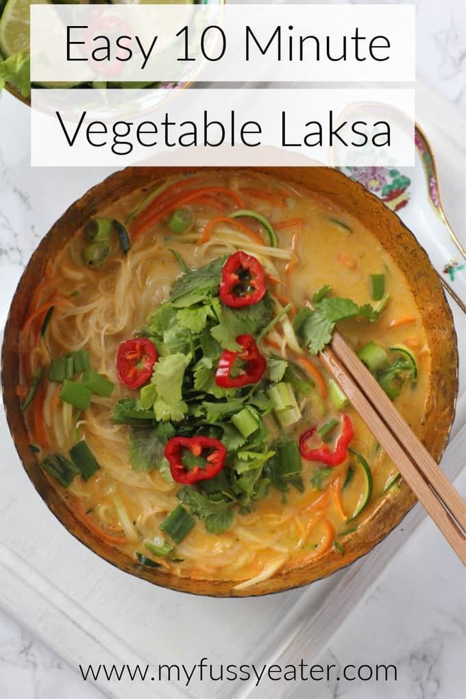 Easy 10 minute vegetable laksa pinterest pin