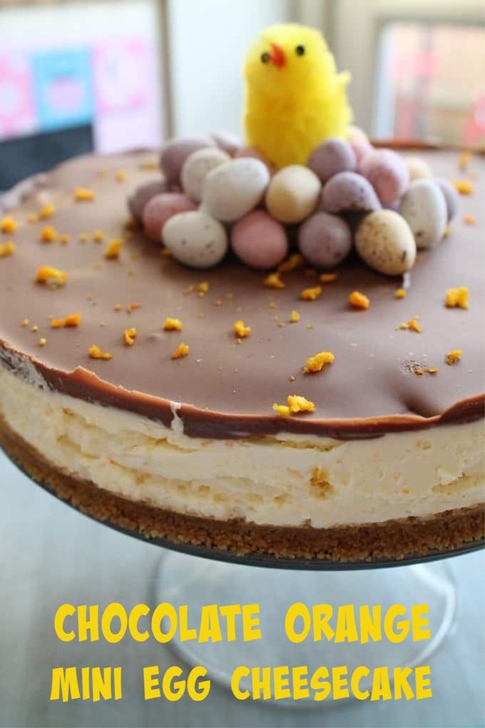 chocolate orange mini egg cheesecake