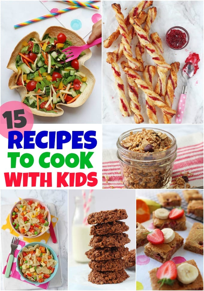 collage of recipes to cook with kids