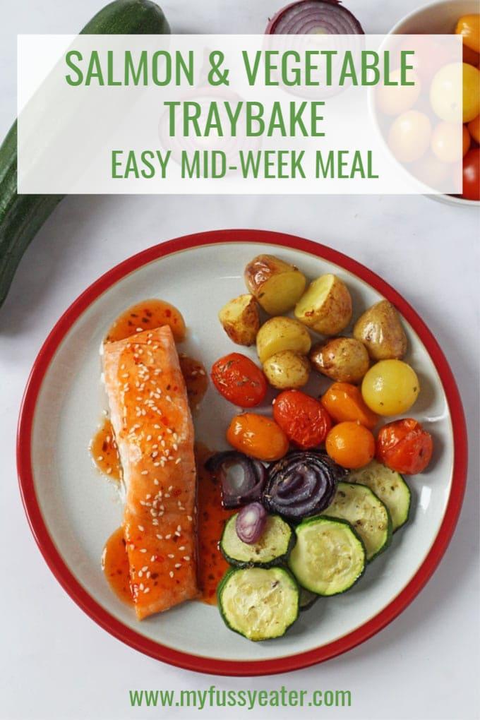 salmon & vegetable traybake