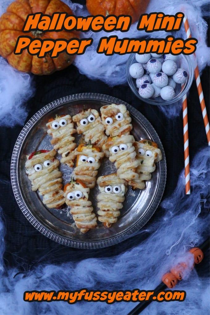 Halloween mini pepper mummies