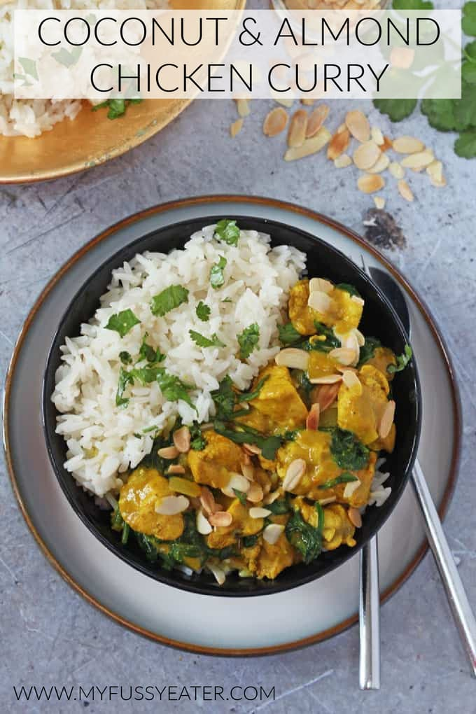 coconut & almond chicken curry pinterest pin
