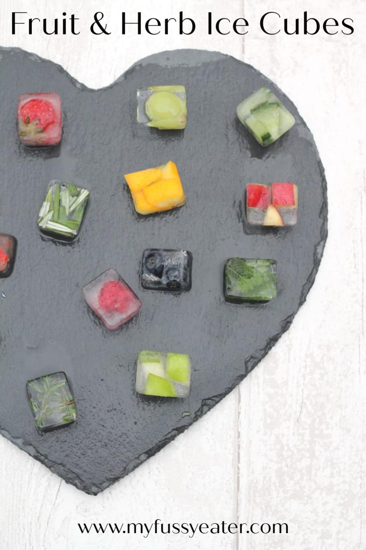 fruit & herb ice cubes pinterest pin