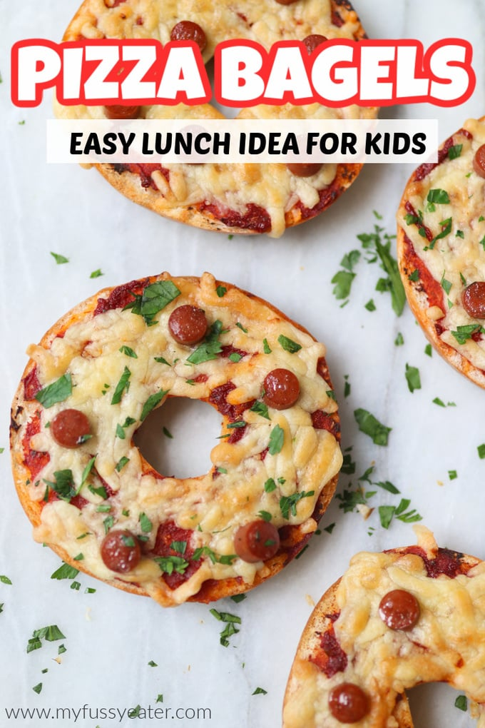 Pizza Bagels - Easy Lunch Idea for Kids