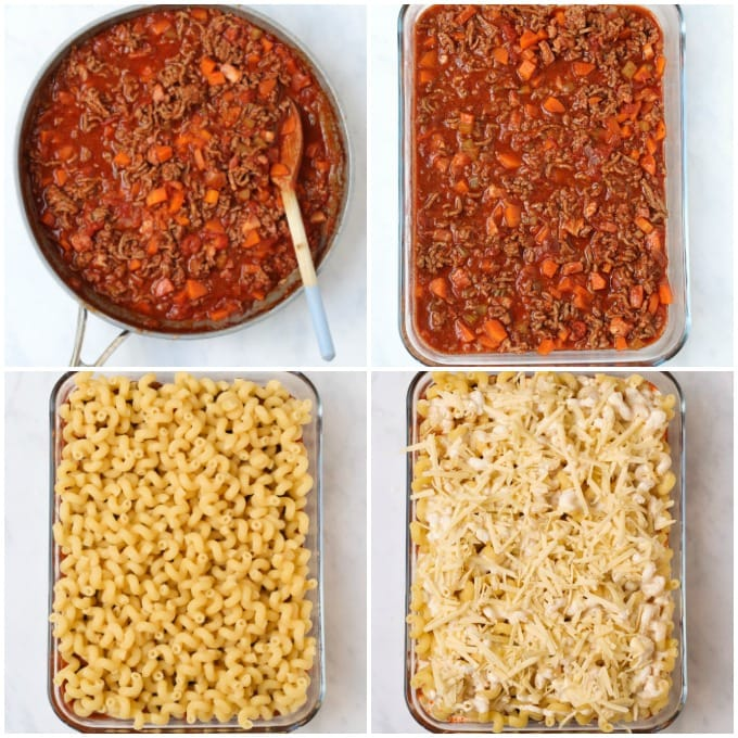 step by step making the pasta bake