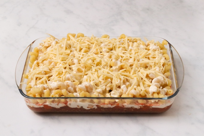 Bolognese Pasta Bake ready to go in the oven