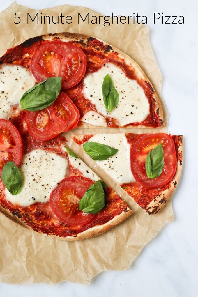 5 Minute Margherita Pizza Pinterest Pin
