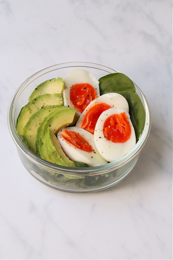 Protein pot with eggs and avocado