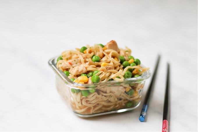 Healthier Homemade Pot Noodle with chopsticks
