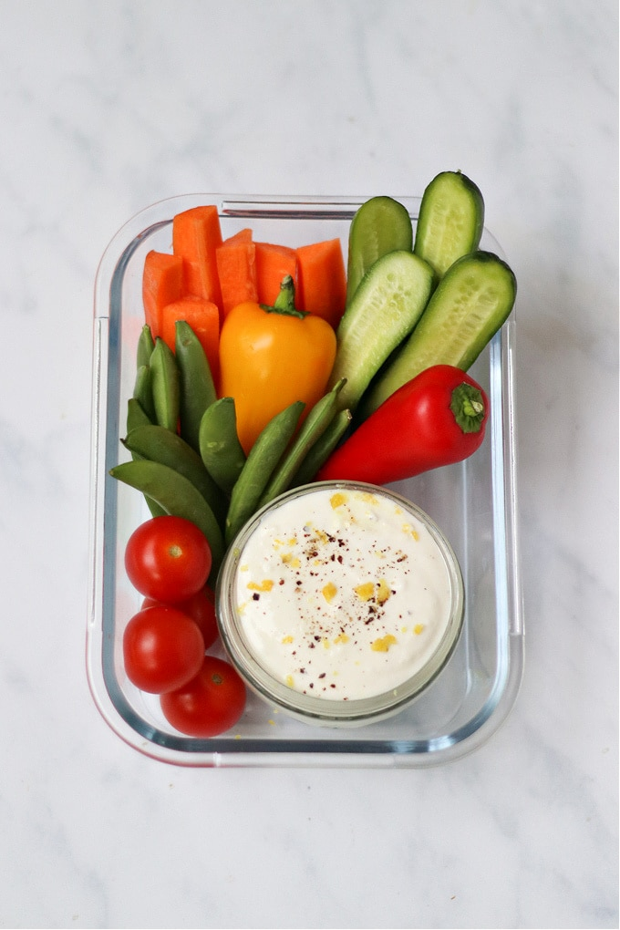 whipped feta dip with veggies