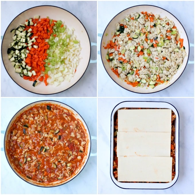 step by step of how to make the chicken lasagne