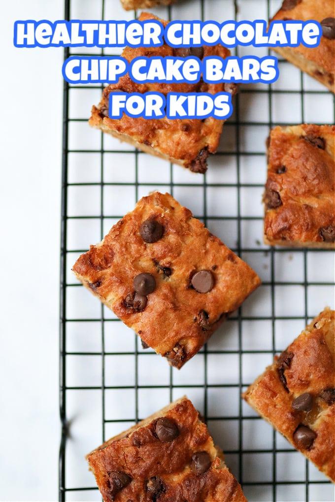 healthier chocolate chip cake bars for kids pinterest pin