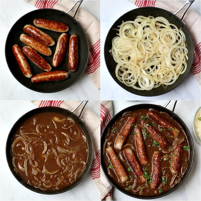 the four steps of making sausages in onion gravy