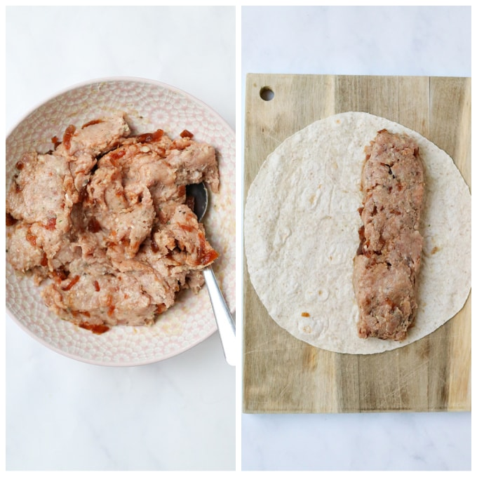 sausage mixture in a bowl and then placed onto one of the wraps